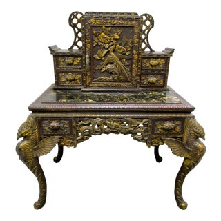Carved Griffin Chinese Desk
