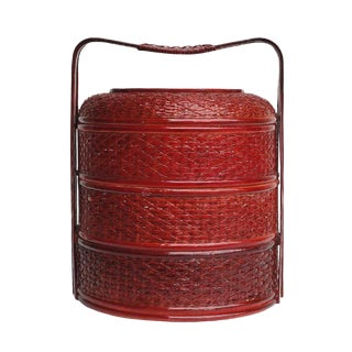 Round Shape Chinese Handmade Date Red Bamboo Strip Wedding Basket