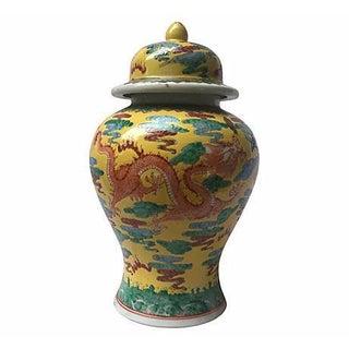 Hand-Painted Dragon Lidded Jar Vase