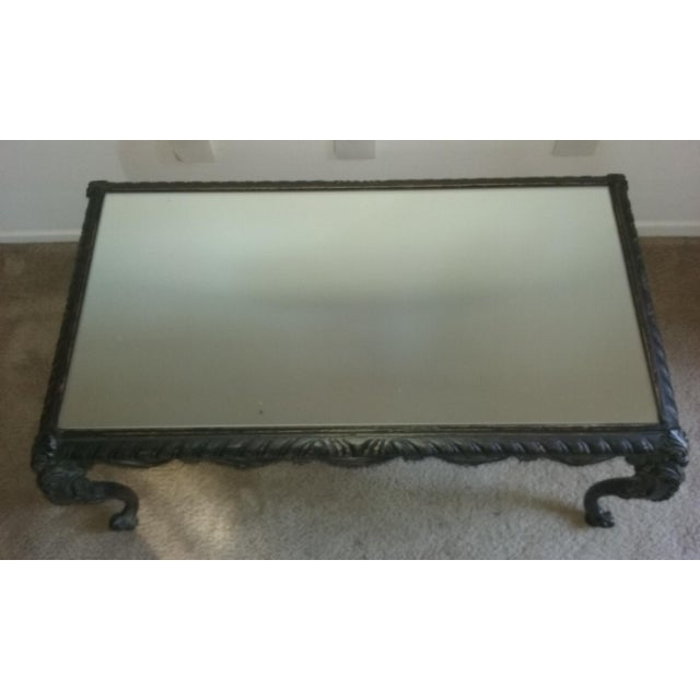 Ornate french wood mirror top coffee table chairish for Mirror and wood coffee table