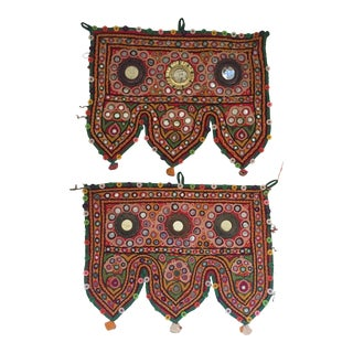 Indian Embroidered Mirrored Door Valances - Pair