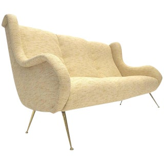 Sleek Sculptural Italian Brass Legged Sofa in the Manner of Gio Ponti