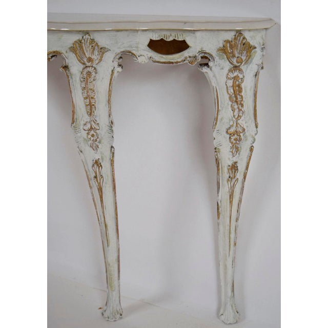Louis XV-Style Italian Marble Top Wall Console - Image 6 of 8