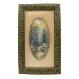"1919 Vintage ""Fishing"" Watercolor"