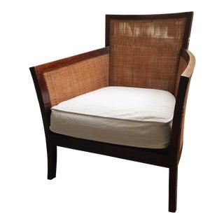 Rattan & Teak Cushioned Chair