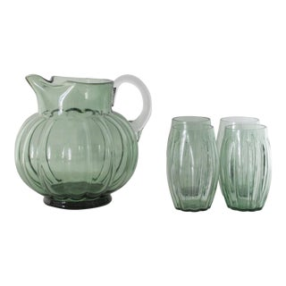 Green Glass Drink Set, 5 Pcs.