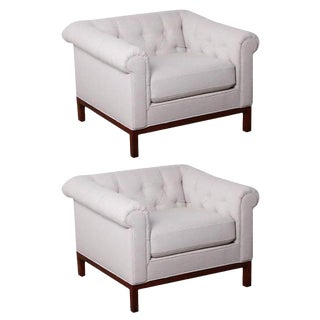 Pair of Tufted Lounge Chairs by Edward Wormley for Dunbar