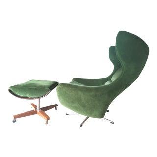 Mid-Century G-Plan Egg Chair & Ottoman - A Pair
