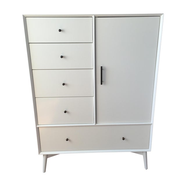 West Elm White Mid Century Chifforobe Chairish