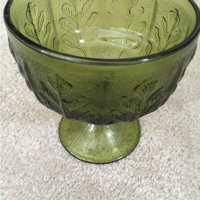 Vintage 1978 Green Glass Pedestal Dish - Image 6 of 6