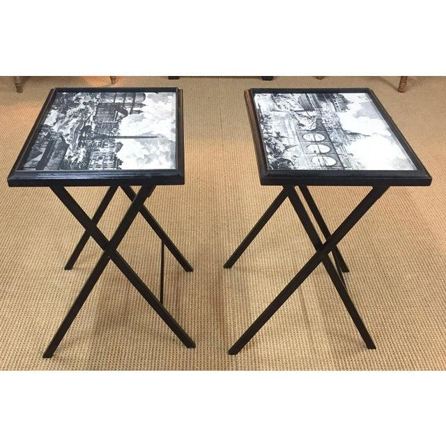 Pair, Mid Century Black Folding X Base tables - Image 2 of 9