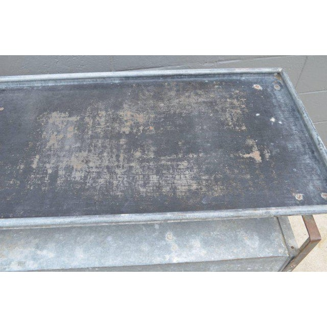 Bar on Wheels / Potting Table / Plant Stand from Galvanized Vet Exam Table - Image 6 of 10