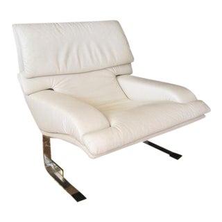 Vintage Saporiti Italia Onda White Leather Chair