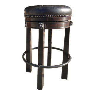 Theodore Alexander Leather Swivel Bar Stool