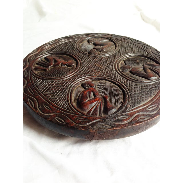 African Carved Wood Medallion - Image 4 of 4