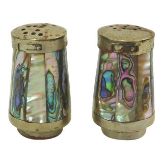 Vintage Abalone and Silver Salt & Pepper Shakers - A Pair