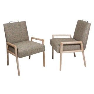 Pair of Limed Oak Armchairs by Samuel Marx
