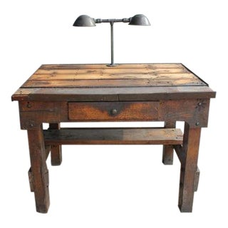 Antique Industrial Oak Desk With Double Lighting, 2 available