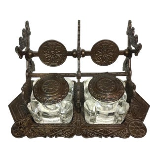 Antique Double Inkwell Set with Stand