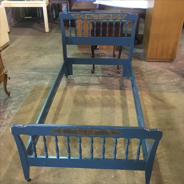 Vintage Hitchcock Blue Twin Bed - Image 3 of 10