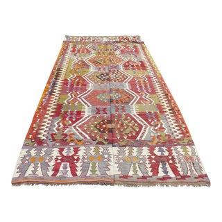 Vintage Turkish Kilim Rug - 6′4″ × 11′11″