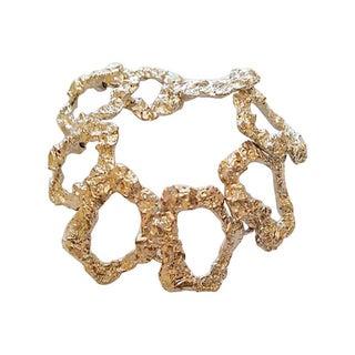 Silver Tone Organic Link Bracelet
