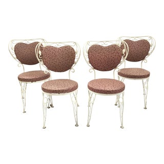 Heart Shaped French Iron Bistro Chairs - Set of 4