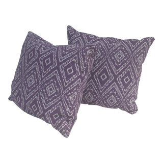 Purple and White Accent Pillows - A Pair