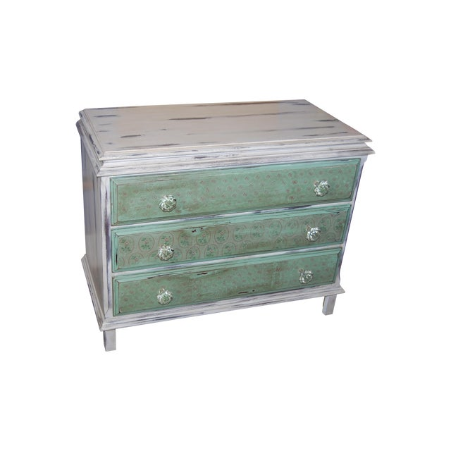 Vintage Shabby Chic Painted Green & White Dresser - Image 1 of 9