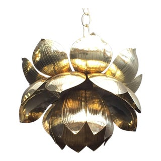 Small Brass Lotus Pendant Light by Feldman