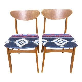 Mid-Century Southwestern Upholstered Dining Chairs - Pair