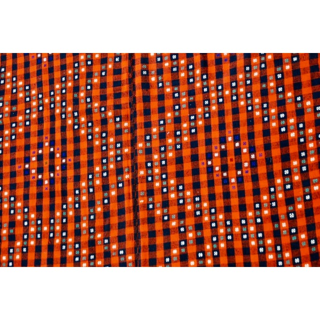 Gingham Rug: Vintage Handmade Bohemian Gingham Kilim Rug