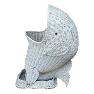 Vintage Wicker Fish Planter