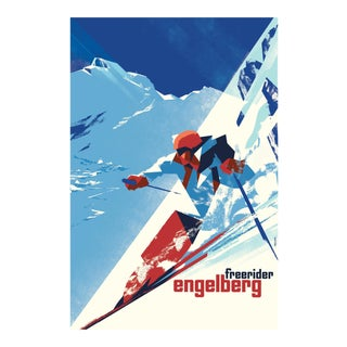 Danish Modern Poster, Engelberg Winter Skiing