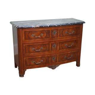 Henredon French Louis XV Style Bow Front Marble Top Chest