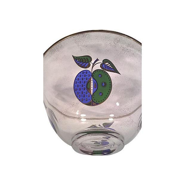 Georges Briard Fruit Motif Glass Bowl - Image 3 of 5