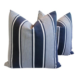 French Stripe Ticking Fabric Down and Feather Pillows - Pair