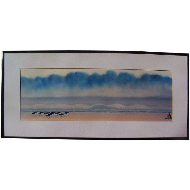Japanese Sandpipers Seascape Painting on Silk - Image 1 of 5