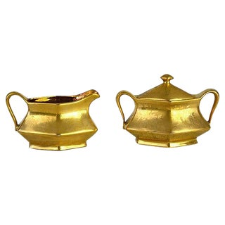 Vintage Golden Creamer & Sugar