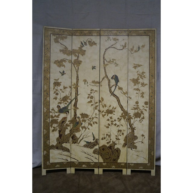 Vintage Chinoiserie Painted Folding Screen - Image 7 of 10