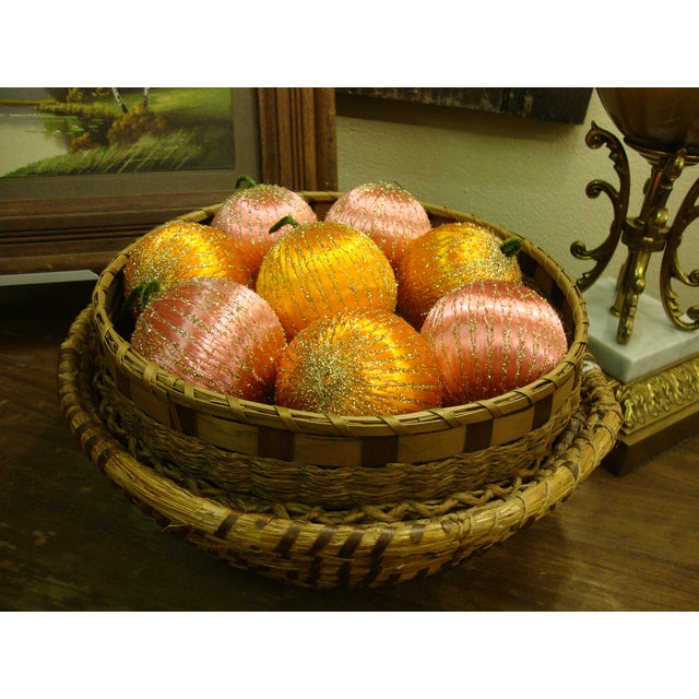 Vintage Spun Satin Ornaments in Antique Baskets - Image 8 of 8