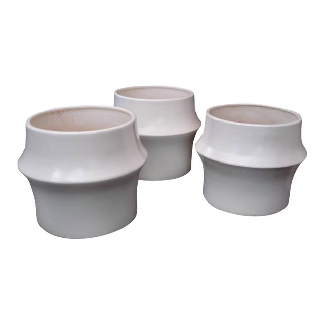 Image of Oversized Modernist Heavy Ceramic Planters, Three Available