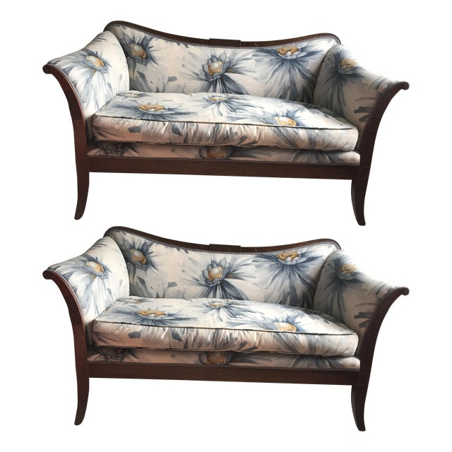 Traditional Settees with Floral Upholstery - A Pair - Image 1 of 10