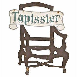 Antique Steel Tapissier Chair Sign