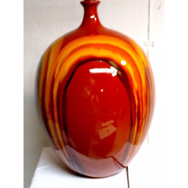 Retro Vintage Orange Ceramic Table Lamp - Image 3 of 6