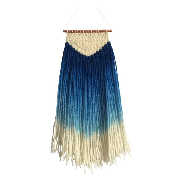 Image of Handwoven Hand Dyed Blue Wallhanging