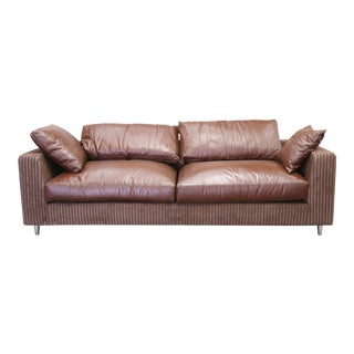 Modern Brazilian Brown Leather Sofa