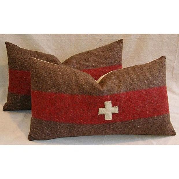 Swiss Wool Appliqué Cross Lumbar Pillows - Pair - Image 2 of 8