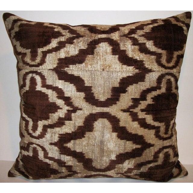 Walnut Wash Silk Velvet Ikat Pillow - Image 2 of 2