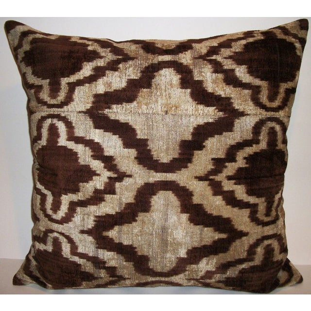 Image of Walnut Wash Silk Velvet Ikat Pillow